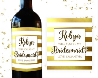 Gold Bridesmaid Wine Labels Bridesmaid Proposal Ask Bridesmaid Pop the question, Bridesmaid Gift Wine Bottle Labels BM0016