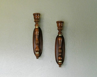 Vintage Wood Wall Sconce Candle Holders