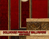 Miniature Dollhouse Wallpaper, decorative molding, Red velvet panel . VICTORIAN GOTHIC ... . tutorial . Repeating  patterns  DOWNLOAD 1:12