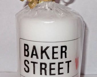 Baker Street Pillar Candle 10 cm high, London, Sherlock, 221b, Sherlock Holmes, British, Hand crafted, Gift, Christmas, Decorative Candle