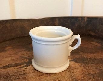 Vintage White Ceramic Small Shaving Mug | Bathroom Accessory | Farmhouse Bathroom Décor