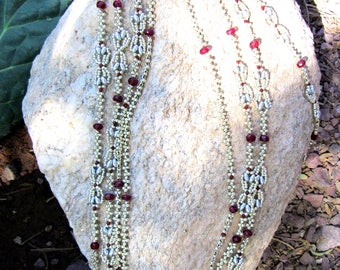 Eytra long Charleston Necklace with garnets (88 inches)