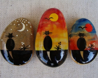 Stone magnets-OOAK miniatures-hand painted stones-black cats-cats for romance-collectibles-magnets gift for mom