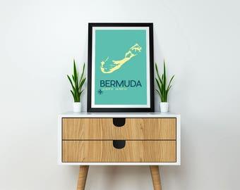 Bermuda Map Poster - Bermuda Art Print, Bermuda Poster, Minimalist Travel Poster, Bermuda Poster