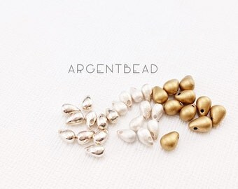 10pcs 1.5mm Gold silver Vermeil Teardrop Charms Pendants Dangles Drops, SMALL,  Brushed Matte , AG20170310