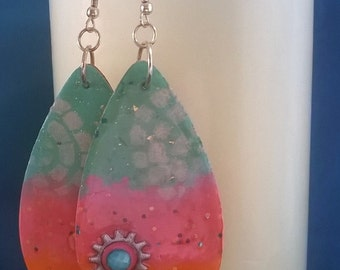 Teardrop Dangle Collage Sunset Earrings