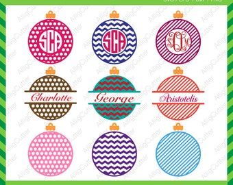 Ball Christmas Circle Monogram Split Patterned Frames SVG DXF PNG eps xmas Cut Files for Cricut Design, Silhouette studio, Digital download