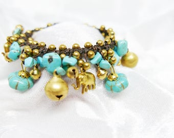 Blue Turquoise Chips Gold Elephant Charm Beaded Bracelet  I Handmade Jewelry Accessories