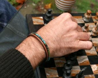 Mens bracelet, Leather bracelet, Mens jewelry, Mens gift, Boyfriend gift, Blue bracelet,  Ethnic bracelet for him, Husband gift, Christmas