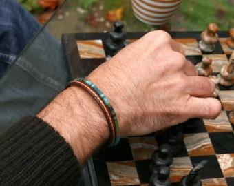 Mens bracelet, Valentine Gift for him, Leather bracelet, Mens gift, Blue bracelet, Woven bracelet, Bracelet for him, Ethnic bracelet for him
