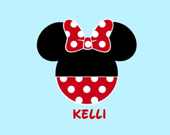 Personalized Polka Dot Minnie Mouse with Bow Cheer Team Matching Family Mother Disney Iron On Decal Vinyl for Shirt Fish Extender  044