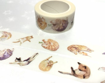 Cute Cat Washi Masking tape 7M x 2cm  meow meow washi tape cozy cat lazy cat pet cat sticker tape cat planner diary scrapbook gift decor