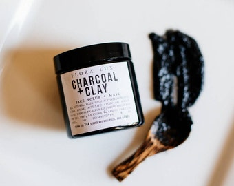 Charcoal + Clay Purifying Face Scrub & Mask, Activated Charcoal, Gift Idea, Gift for Her, Gift for Him, Organic, Natural Skin Care Product