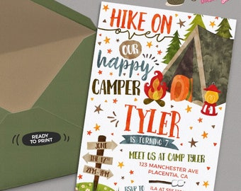 Camping Birthday invitation DIY Camp out printable invite - Camping sign birthday decorations Tent Camping birthday party invitations