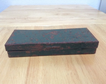 Vintage Small Ratchet and Socket Box, Old Metal Tool Box