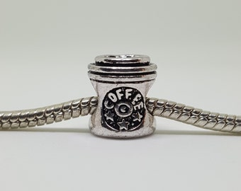 Silver Coffee Cup Charm for European Bracelets (item 263)