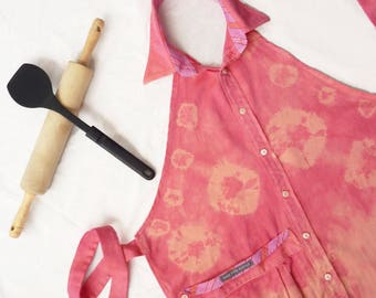 Tie dye Upcycled Repurposed Apron, Shirt Apron, Peach apricot Herringbone Apron, Saks Fifth Avenue Shirt, Mother's Day Gift