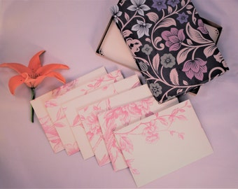 Christmas gift for her Stationery Writing Set - gift boxed, writing paper, birthday, letter writing set, pink, floral, unique, special