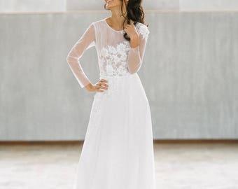 Wedding dress Opera/long sleeve wedding dress/romantic wedding dress/simple wedding dress/3D lace