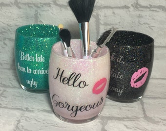 Makeup Brush Holder, Glitter Make Up Brush Holder, Makeup Storage, Brush Pot, Hello Gorgeous, Brush Organizer, Gift For Her, Vanity Storage.