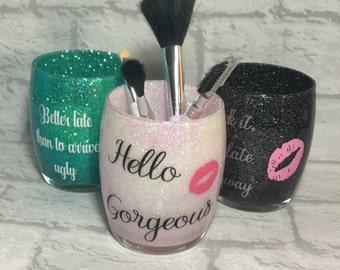 Makeup Brush Holder, Glitter Make Up Brush Holder, Makeup Storage, Brush Pot, Hello Gorgeous, Brush Organizer, Gift For Her, Vanity Storage.
