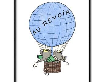 "Blue Nursery Art, Instant Download JPG (Babar the Elephant Wall Decor, Baby Boy Print) ""Hot Air Balloon Nursery"""