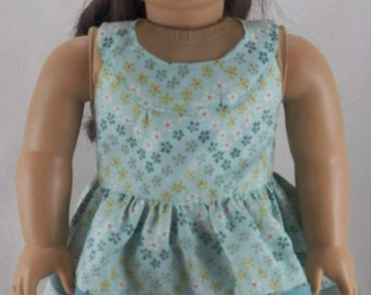"""18"""" Doll American Girl Easter Dress Vintage 1950's Round Yolk Teal Dress with Flowers and Full Skirt with Decorative Stripes"""