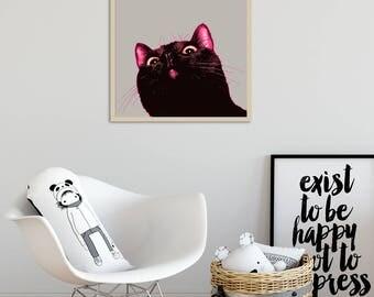 Curious cat, cat print, cat poster black, cat room decor, cat wall art, POP ART cat, Black Cat Art Print, Cute Kitten, Cat face