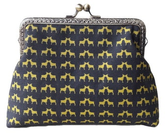 Kissing French Bulldogs Black and Gold Antique Bronze Sew in Clasp Frame Clutch Purse Evening Bag
