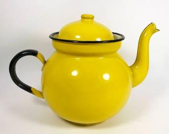 Mid-Century Yellow Enamelware Teapot