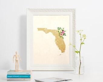 Florida State poster, Printable silhouette map print, Florida print, Digital illustration, Girly Florida poster