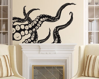 Octopus Wall Decal Tentacles Vinyl Sticker Decals Kraken Octopus Fish Deep Sea Scuba Ocean Animals Bathroom Home Decor Nautical Bedroom x23