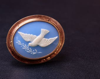 Dove of peace Symbolic sterling silver soviet cameo dove brooch (plastic cameo) Made in USSR