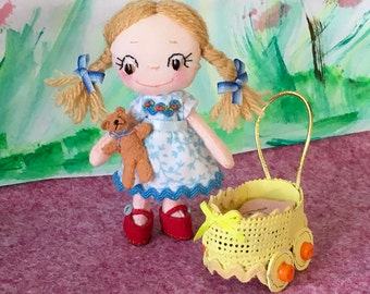 "3"" Ooak handmade dolls house/collectable/keepsake Everbelle mini doll with pram and teddy"