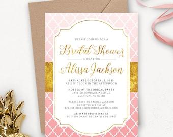 Printable Bridal Shower Invitation Download / Gold Bridal Shower Invitation / Printable Bridal Brunch Shower Invites / Pink Ombre Quatrefoil