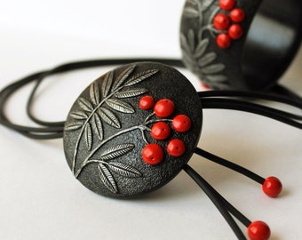 Polymer Clay Necklace Jewelry Pendant  Rowan Branch Red Berries Round Summer Botanical Art Polymer Clay Jewelry Necklace  Mothers Day Gift
