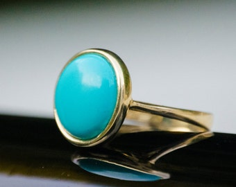 Turquoise Ring, Turquoise gold ring, solid Gold ring, Turquoise Jewelry, December Birthstone, vintage ring, Turquoise stone, round gold ring