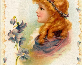 Victorian Birthday Image, Digital Downloadable Art, Victorian Girl Portrait, Card Making Image, PDF and JPG Files
