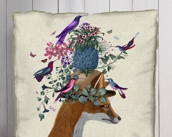 Decorative Throw Pillowcolorful pillow tropical pillow pineapple print Fox Pillow Bird throw pillow bird pillow Tropical décor Bird Décor