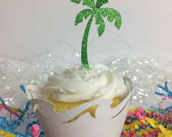 Palm tree cupcake toppers  ~ party ~  luau ~ glitter