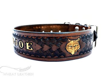 PERSONALIZED LEATHER COLLAR // Personalised leather dog collar // High quality dog collar // Dog collar with name // Brown collar // Wolf