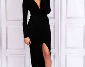 Bianca Plunge Knot Maxi Dress - Black