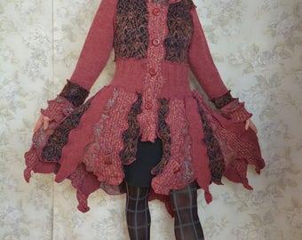 Upcycled sweater coat, Katwise inspired -Cranberry Crush- patchwork pixie coat- Medium large