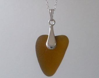 Toffee Heart-Shaped Sea Glass Sterling Silver Necklace Pendant, Seaglass, Beach Jewelry, Seaham, Beach Glass Pendant, Seaglass Necklace
