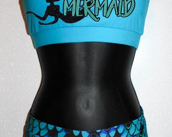 100% Mermaid - Wacki Set - Adorable Mermaid Wacki shorts and super cute sports bra!