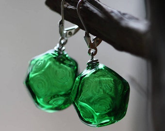 Glass Ice Green Earrings - Lampwork Handcrafted Glass - Faceted - Rhodium Covered Clasps - Saturated Color Salad - Bright Green Transparent