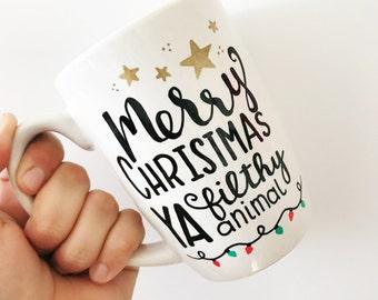 Merry Christmas Ya Filthy Animal, Funny Christmas Mugs, Funny Christmas Gifts, Xmas Gifts, Funny Coffee Mug, Funny Mugs, Christmas Mugs