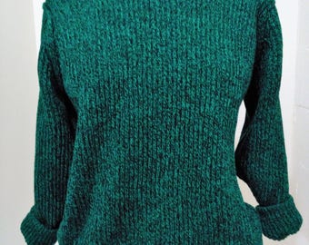 Vintage Green and Black Marled Sweater, Oversized Sweater, Slouchy Sweater, Green Sweater