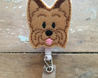 Yorkie Yorkshire dog ID badge reel holder retractable clip
