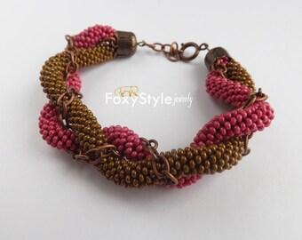 statement bracelet brown bracelet pink bracelet bronze jewelry magenta marsala chain jewelry beaded bracelet casual jewelry rope bracelet